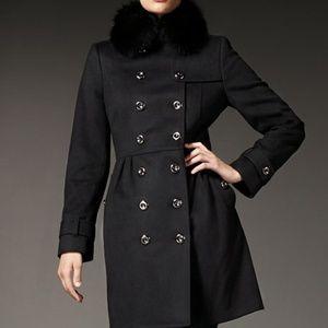 Burberry Coatbridge Fox Collar Wool Cashmere Coat